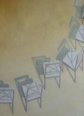 2013, Öl auf Papier, 64x44 cm / Stühle