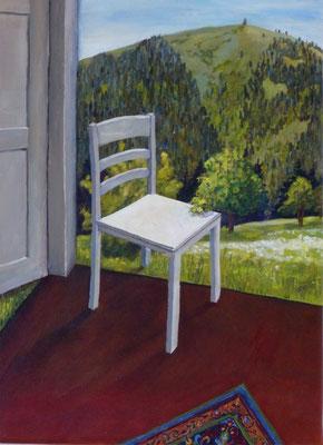 2011, Acryl auf Leinwand, 40x29 cm / Stuhl