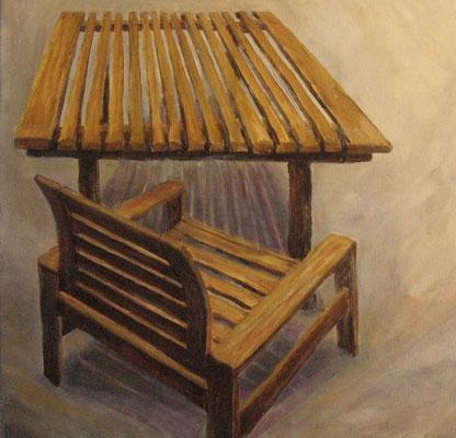Tisch und Stuhl I, 2008, Acryl auf Leinwand, 50x50 cm /Warten