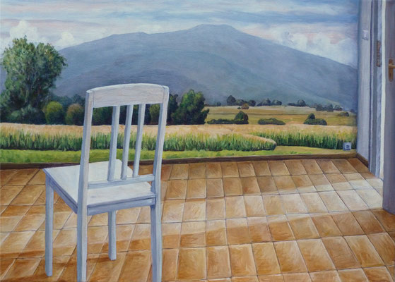 2011, Acryl auf Leinwand,  50x70 cm / Stuhl