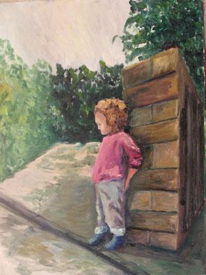 Mädchen, 2008 Öl auf Papier, 60x40 cm / Warten