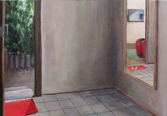 Innenraum II, 2009, Acryl auf Leinwand, 35x50 cm /Warten