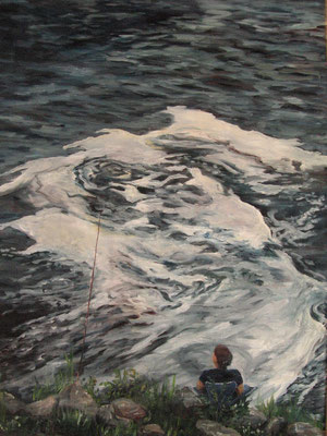 Angler, 2007, Öl auf Leinwand, 70x50 cm / Warten