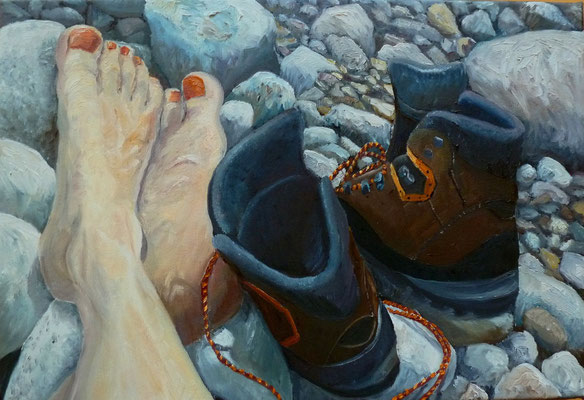 Pause, 2014, Öl auf Leinwand, 29x42 cm