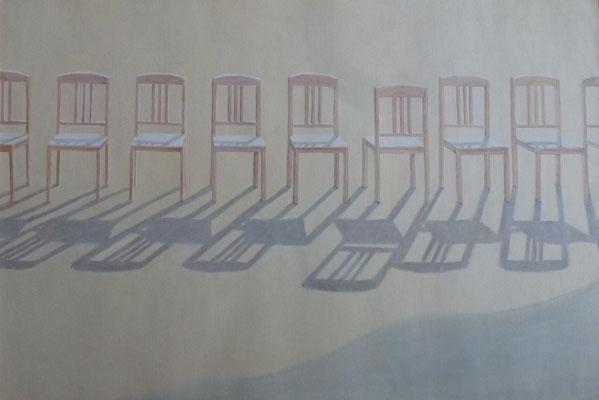 2013, Öl auf Papier, 43x63 cm / Stühle