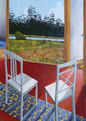 2011, Acryl auf Leinwand, 70x50 cm / Stühle