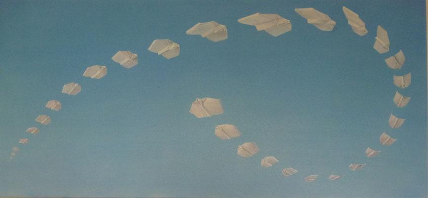 2014, Acryl auf Leinwand, 65x140 cm / Papierflieger