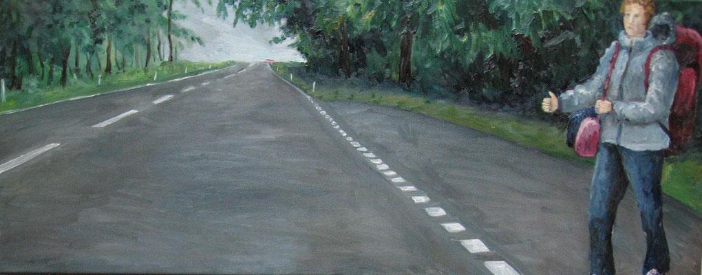 Tramperin, 2010, Öl auf Leinwand, 32x 80 cm / Warten
