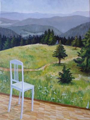 2010, Acryl auf Leinwand, 70x50 cm / Stuhl