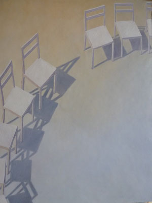 2013, Öl auf Papier, 64x44 cm / Stühle, Annette Burrer