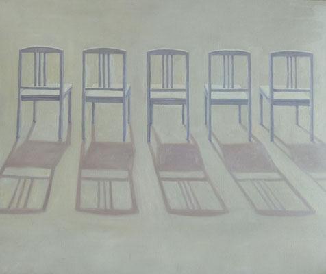 2012, Öl auf Papier, 42x39 cm / Stühle