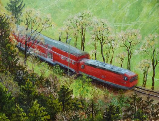 Regionalzug, 2014, Acryl auf Papier, 24x32 cm
