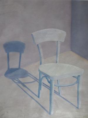 2019, Öl auf Papier, 54x40cm / Stühle, Annette Burrer