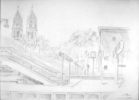 2009, Bleistift auf Papier, 21x30 cm / Warten
