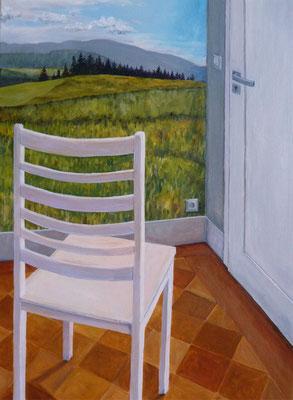 2011, Acryl auf Leinwand, 70x50 cm / Stuhl