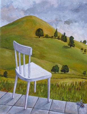 2011, Acryl auf Leinwand, 24x18 cm / Stuhl