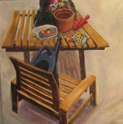 Tisch und Stuhl IV, 2008, Acryl auf Leinwand, 50x50 cm / Warten