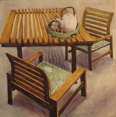 Tisch und Stuhl III, 2008, Acryl auf Leinwand 50x50 cm / Warten
