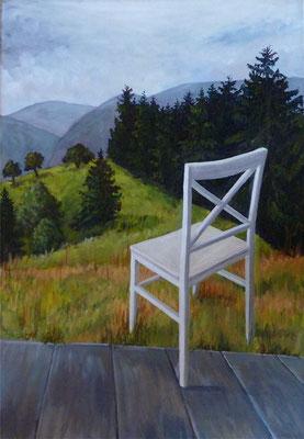2011, Acryl auf Leinwand, 50x35 cm / Stuhl