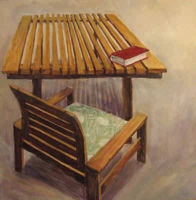 Tisch und Stuhl II, 2008, Acryl auf Leiwand, 50x50 cm / Warten