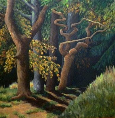 Waldweg 2014, Acryl auf Leinwand, 70x70 cm