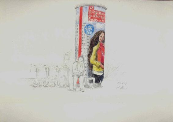 2009, Bleistift und Buntstift auf Papier, 21x30 cm / Warten