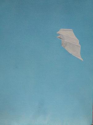 2014,  Acryl auf Papier, 56x42 cm / Papierflieger