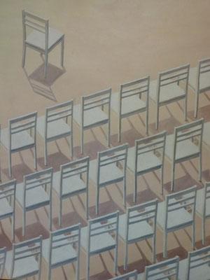 2013, Öl auf Papier, 64x48 cm / Stühle
