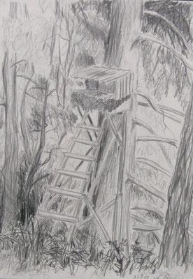 2009, Bleistift auf Papier, 30x21 cm / Warten