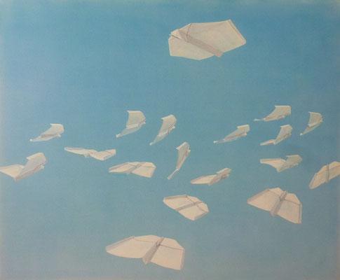 2015, Acryl auf Leinwand, 100x120 cm / Papierflieger