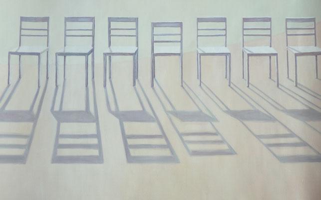 2012, Öl auf Papier, 39x61 cm / Stühle