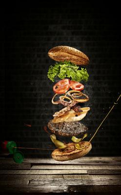 Food-Fotografie eines Burgers.