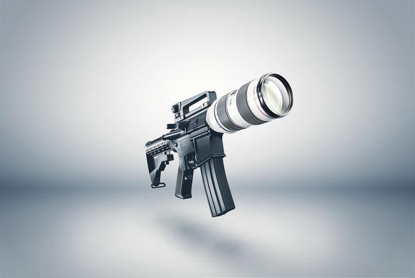 Foto Composing eines Gewehrs und eines Objektivs