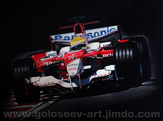 """Ральф Шумахер Toyota TF106"". черный бумага,гуашь 60х80. 2008"