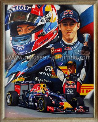 """Даниил Квят, Red Bull RB 11"", 50х40, холст,масло, 25.09.2015"