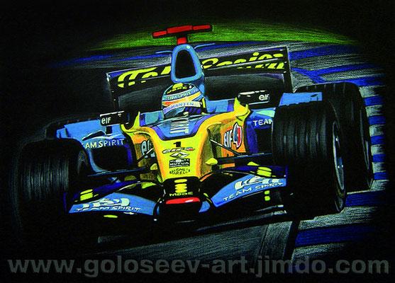 """Фернандо Алонсо, Renault R26""60х80. черная бумага,гуашь. 2006"