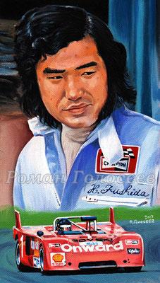 """""""Хироси Фусида. Chevron B21P Ford. Фуджи, 1973"""", 29.5х15, картон,масло, 20.12.2017"""
