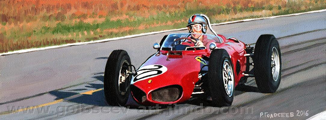 """Вольфганг фон Трипс, Ferrari 156"", 10х26, картон,масло, 25.05.2016"
