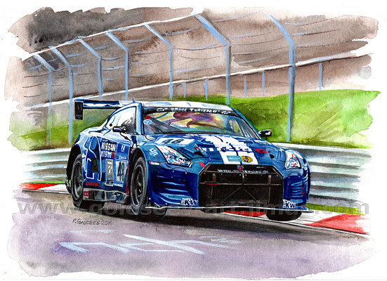 """24 часа Нюрбургринга 2016 Schulze автоспорте Nissan GTR NISMO GT3, Марк Шульжицкий"", 21х30, бумага,акварель, 31.05.2016"