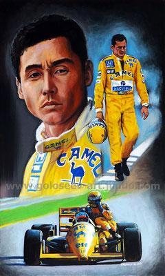 """Сатору Накадзима и Айртон Сенна, Lotus 99T, 1987"". 50х30, холст,масло, 01-15.09.2017"