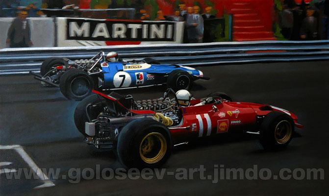 """Старт!"". Джеки Стюарт Matra  MS80 и Крис Амон Ferrari 312/67. Гран При Монако 1969год. 30х50. холст.масло. 8.02.2013"