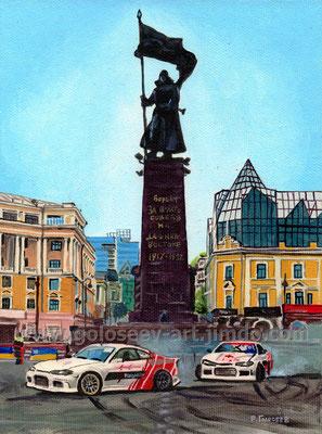 """Дрифт на главной площади"", 20х15, картон,масло, 29.08.2017"