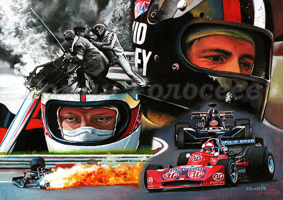 """Спасение из огня"", Роджер Уильямсон и Дэвид Пэрли, March-Cosworth 731, ГП Зандворт 1973,  21х30, картон,масло, 03-05.12.2017"