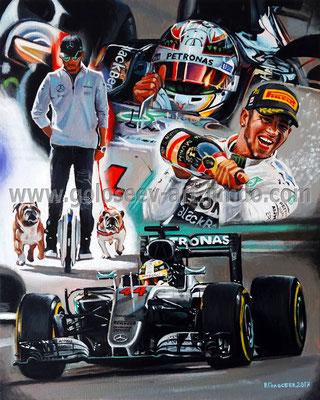 """""""Легенда Формулы-1, Льюис Хэмилстон"""", 50х40, холст.масло, 14.02-22.03.2017"""