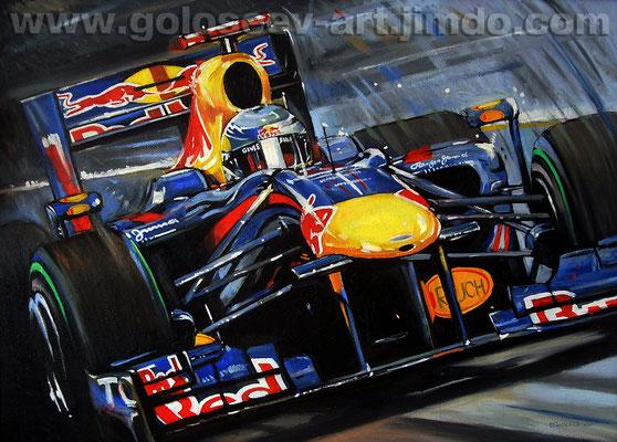 """""""Феттель , Red Bull RB6"""". 50х70. холст,масло. 2011"""