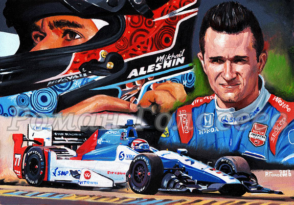 """Михаил Алёшин, IndyCar"", 20,5х29, картон,масло, 26.12.2017"