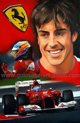 """Фернандо Алонсо Ferrari F2012"". 60х40. холст.масло. 2012"