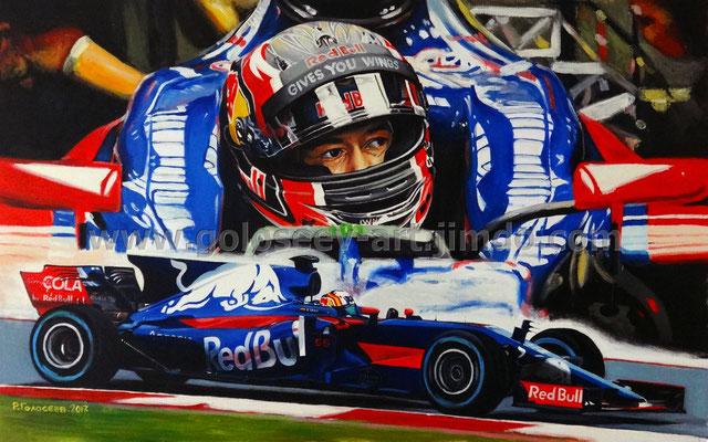 """Даннил Квят и Карлос Сайнс мл, Toro Rosso STR 12"", 50x80, холст,масло, 30.06.2017"