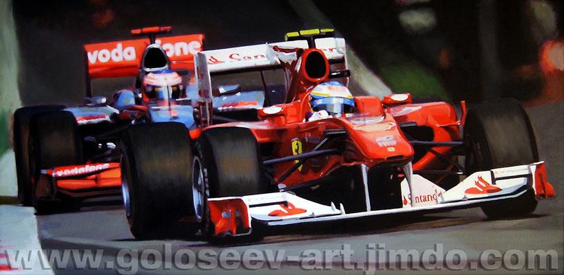"""""""Гран-при Италии. Ф.Алонсо Ferrari F10 и Д.Баттон МcLaren MP4-25. 47х95. холст,масло. 2010"""