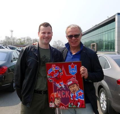 Встреча с Фетисовым сегодня 28.04.2015. Дарю свою картину. И конечно автограф на память.))